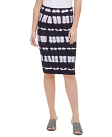 Tie-Dye Cotton Pencil Skirt