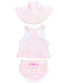 Baby Girls Peplum Tankini Swimsuit Swim Hat Set, 2 Piece