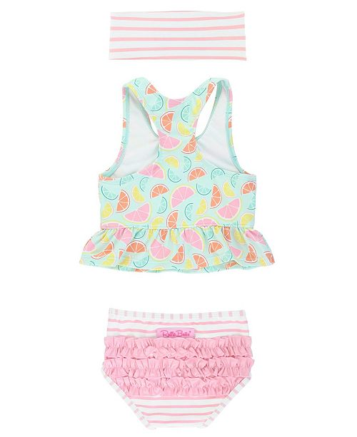 RuffleButts Toddler Girl's Peplum Tankini Swimsuit Swim Headband Set, 2 Piece
