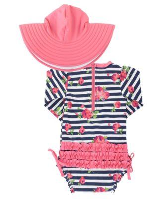 Rash Guard Carters 3 Piece Little Girls Swimsuit Set Hat