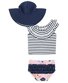 Baby Girl's Ruffled Tankini Swimsuit Swim Hat Set, 2 Piece