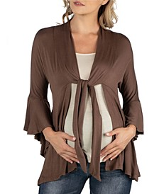 Three Quarter Tie Front Ruffle Maternity Cardigan