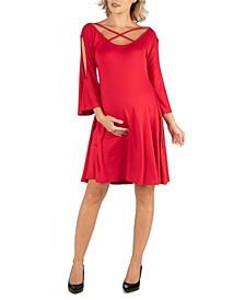 Maternity Knee Length Cold Shoulder Dress