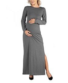 Form Fitting Long Sleeve Side Slit Maternity Maxi Dress