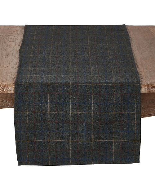 Saro Lifestyle Wool and Poly Blend Table Runner with Moss Plaid Pattern
