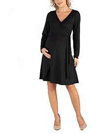 Women's Knee Length Long Sleeve Maternity Wrap Dress