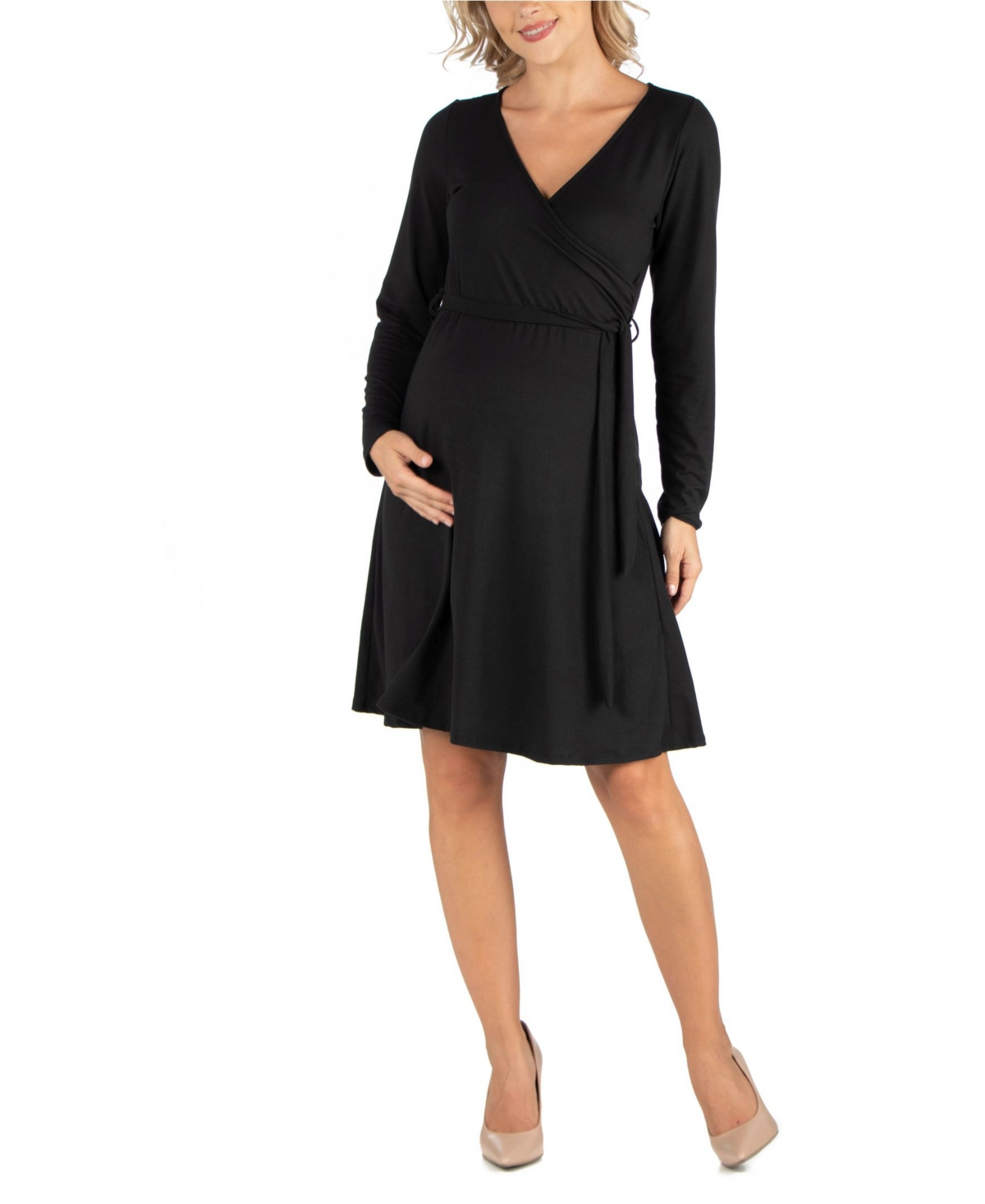 24Seven Comfort Apparel Womens Knee Length Long Sleeve Maternity Wrap Dress