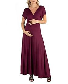 Cap Sleeve V Neck Maternity Maxi Dress