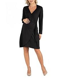 Knee Length Long Sleeve Maternity Wrap Dress