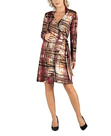 Plaid Print Knee Length Long Sleeve Maternity Wrap Dress