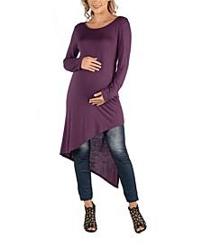 Full Length Long Sleeve Asymmetric Hem Maternity Top