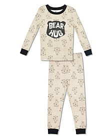 Boy and Girls Toddler, Little and Big Bear Hug 2 Piece Cotton Pajama Set with Grow with Me Cuffs