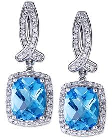 Swiss Blue Topaz (6 ct. t.w.) & Diamond (1/2 ct. t.w.) Drop Earrings in 14k White  Gold