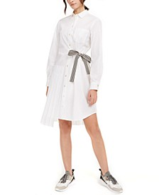 Belted Pleated Shirtdress