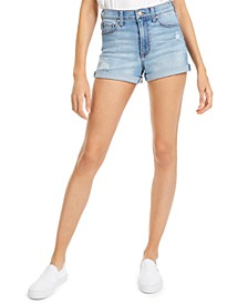 Juniors' Ripped High-Rise Cuffed Denim Shorts