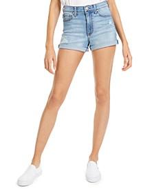 Juniors' Ripped High-Rise Cuffed Denim Shorts