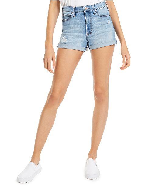 Celebrity Pink Juniors' Ripped High-Rise Cuffed Denim Shorts