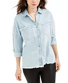 Parisian Frayed-Edge Denim Shirt