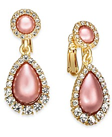 Gold-Tone Pavé & Imitation Pearl Clip-On Drop Earrings, Created for Macy's