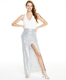 Juniors' Cross-Back Sequined Gown, Created For Macy's