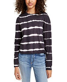 Juniors' Striped Tie-Dye Long-Sleeved T-Shirt