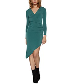 Ruched Asymmetrical-Hem Dress