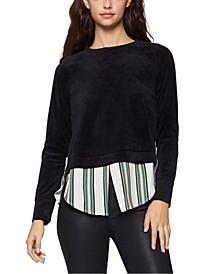 Layered-Look Velour Sweater