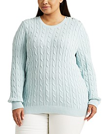 Plus Size Button-Trim Cable Sweater