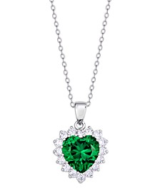 Simulated  Heart and Cubic Zirconia Halo Pendant Necklace in Fine Silver Plate