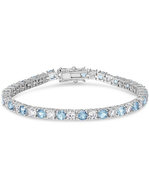 Macy's Simulated Cubic Zirconia Alternating Line Bracelet in Fine Silver Plate