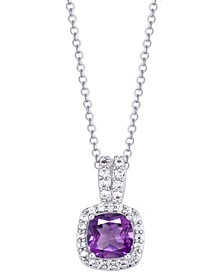 Simulated Birthstone Cushion Cubic Zirconia Halo Pendant Necklace in Fine Silver Plate