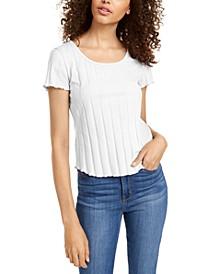 Juniors' Rib-Knit Lettuce-Edged T-Shirt