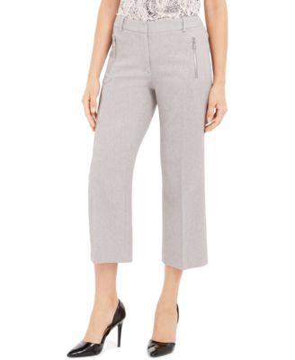 Petite Zipper-Pocket Cropped Twill Pants
