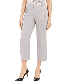 Zipper-Pocket Cropped Twill Pants