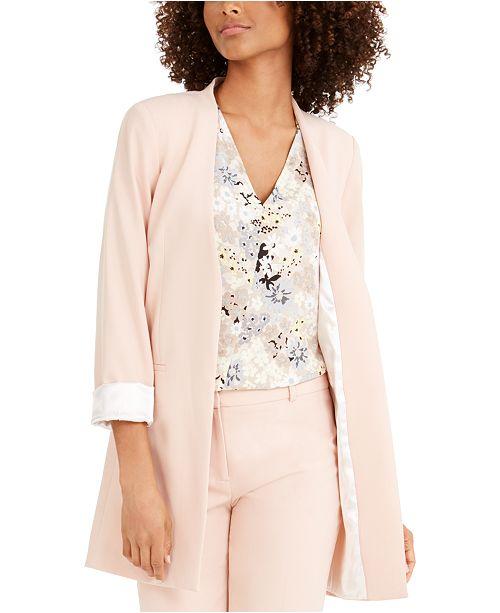 Calvin Klein Petite Long Collarless Blazer