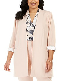 Plus Size Collarless Long Blazer