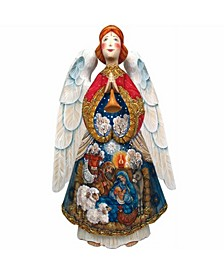 Woodcarved Nativity Angel Santa Figurine