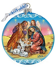 Limited Edition Nativity Ball In Blue Glass Ornament
