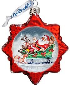 Sleighing Santa Keepsake Glass Ornament