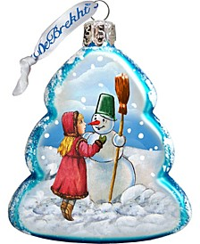 Playing Snowman Glass Ornament