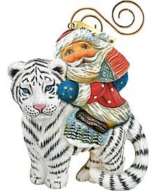 Santa On Tiger Ornament