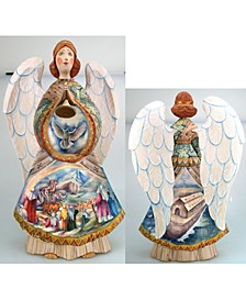 Woodcarved and Hand Painted Noah Ark Angel Santa Figurine