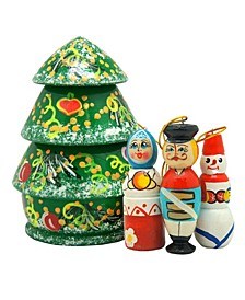 Christmas Tree 5-Piece Ornament Doll Set
