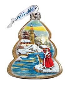 Light House Santa Glass Ornament