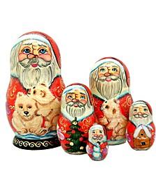 5-Piece Santa Polar Bear Friend Russian Matryoshka Nested Doll Set