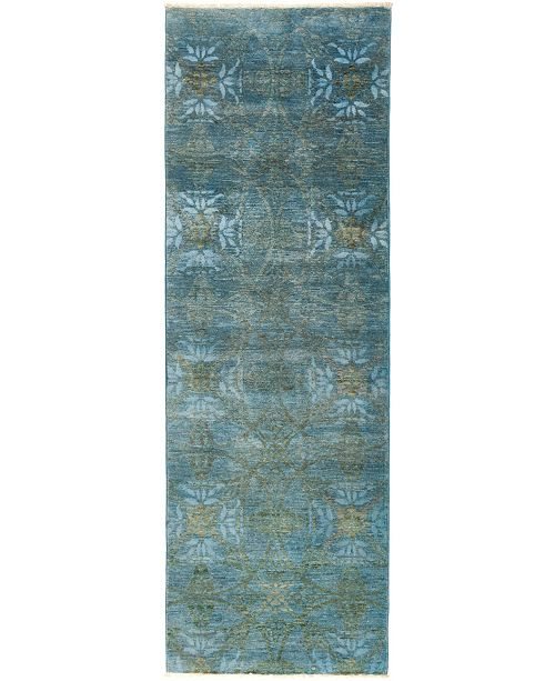 """Timeless Rug Designs CLOSEOUT! One of a Kind OOAK2811 Teal 3' x 9'1"""" Runner Rug"""