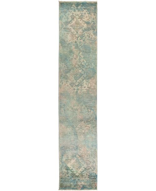 "Timeless Rug Designs CLOSEOUT! One of a Kind OOAK2801 Olive 2'7"" x 12'4"" Runner Rug"