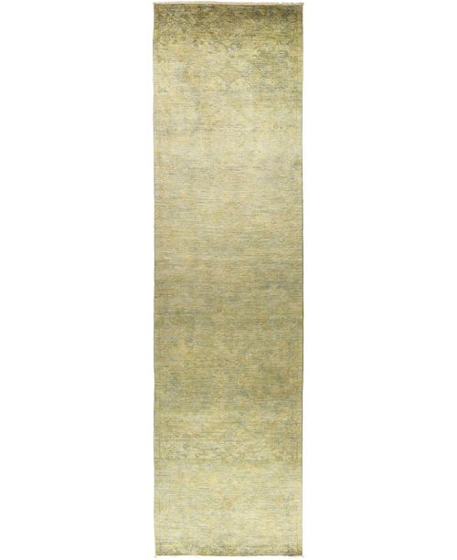 "Timeless Rug Designs One of a Kind OOAK474 Olive 4' x 15'9"" Runner Rug"
