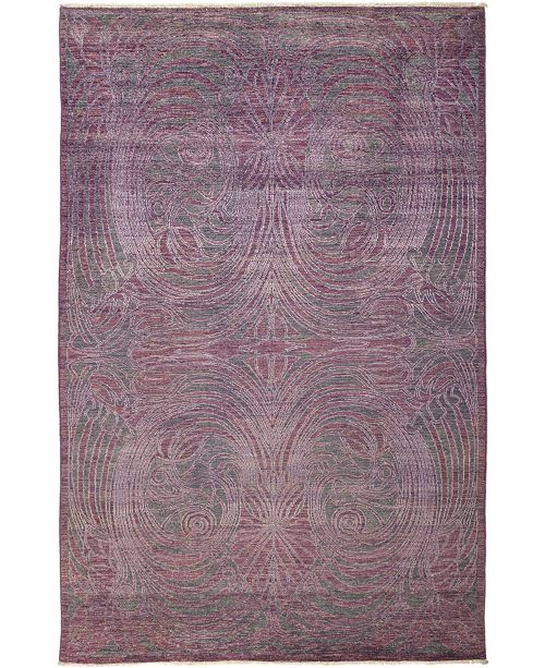 """Timeless Rug Designs CLOSEOUT! One of a Kind OOAK684 Plum 5'10"""" x 9'0"""" Area Rug"""