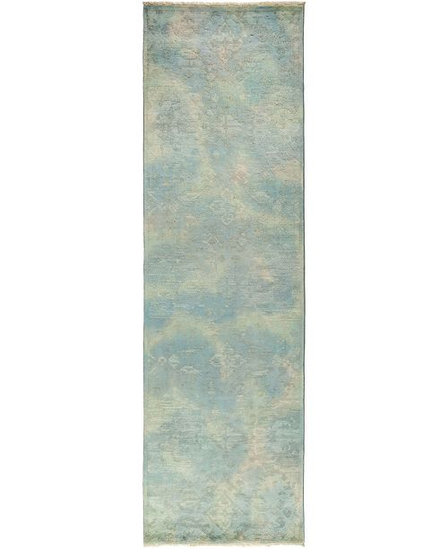 """Timeless Rug Designs CLOSEOUT! One of a Kind OOAK839 Green 3'1"""" x 10'2"""" Runner Rug"""
